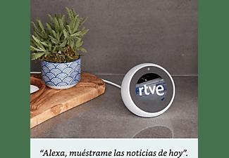Altavoz inteligente con reloj y Alexa - Amazon Echo Spot, 4 micrófonos, Cancelación ruido, Blanco