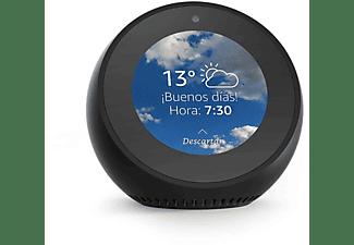 Reloj despertador inteligente - Amazon Echo Spot, Para Alexa, 4 micrófonos, Cancelación ruido, Negro