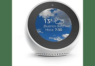 Reloj despertador inteligente - Amazon Echo Spot, Para Alexa, 4 micrófonos, Cancela ruido, Blanco