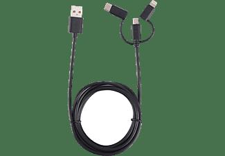 ISY IUC-3100 3-in-1 Kabel , Sync-und Ladekabel, 1,6 m, Schwarz