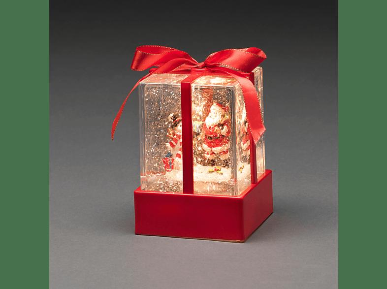 KONSTSMIDE LED Wasserlaterne Weihnachtsgeschenk mit Weihnachtsmann & Schneemann, wassergefüllt Leuchtdekoration,  Rot,  Warm Weiß