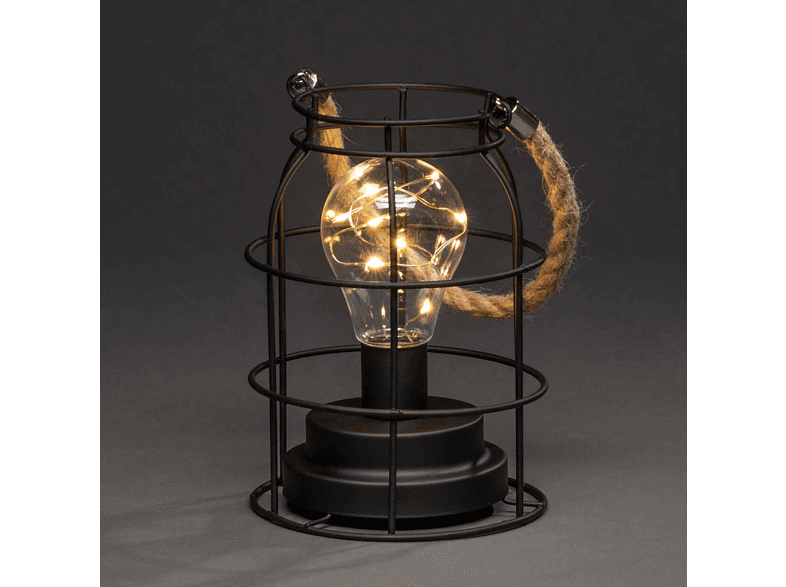 KONSTSMIDE LED Metalllaterne, rund Leuchtdekoration,  Schwarz,  Warm Weiß