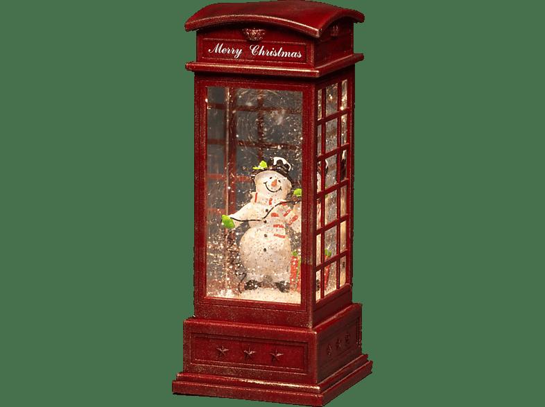"""KONSTSMIDE LED """"Telefonzelle mit Schneemann"""", wassergefüllt Leuchtdekoration,  Rot,  Warm Weiß"""