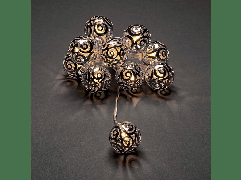 KONSTSMIDE LED Dekolichtekette mit silberfarbenen Metallbällen Lichterkette,  Silber,  Warm Weiß
