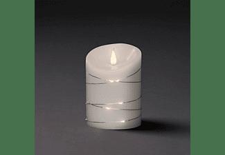 KONSTSMIDE LED Echtwachskerze mit 3D Flamme und silbernen Draht umwickelt LED Echtwachskerze, Weiß, Warm Weiß