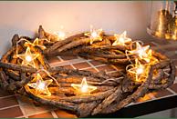 KONSTSMIDE LED Dekokette mit 10 klaren Sternen Leuchtdekoration,  Klar,  Warm Weiß