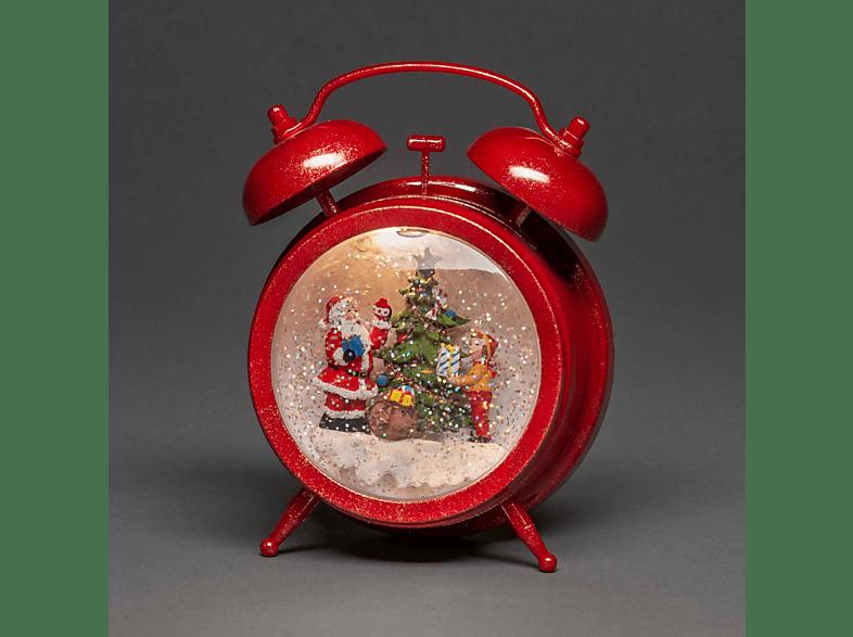 """KONSTSMIDE LED """"Wecker mit Weihnachtsmann und Kind"""" Leuchtdekoration,  Rot,  Warm Weiß"""