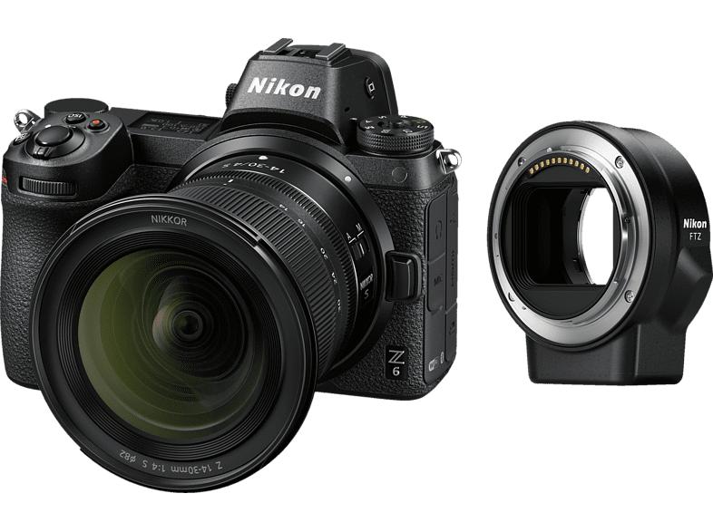 NIKON Z6 14-30mm + FTZ Systemkamera 24.5 Megapixel mit Objektiv 14-30 mm , 8 cm Display   Touchscreen, WLAN