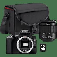 CANON EOS 250 D 18-55 mm CS-SB130 16 GB Spiegelreflexkamera, 24.1 Megapixel, HD, 18-55 mm Objektiv (EF), Touchscreen Display, WLAN, Schwarz