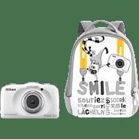 NIKON W 150 Rucksack Kit Digitalkamera Weiß, 13.2 Megapixel, 3 fach opt. Zoom, LCD-TFT