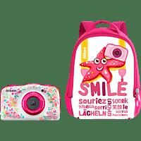 NIKON W 150 Rucksack Kit Digitalkamera Mehrfarbig, 13.2 Megapixel, 3 fach opt. Zoom, LCD-TFT