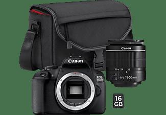CANON EOS 2000D Kit + Tasche SB130 und Speicherkarte SD 16GB Spiegelreflexkamera, Full HD, HD, 18-55 mm Objektiv (EF-S), WLAN, Schwarz
