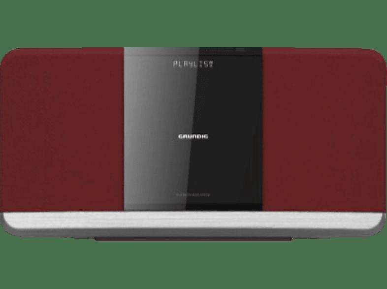 GRUNDIG WMS 3000 BT DAB+ Kompaktanlage (USB, DAB+, FM, Bluetooth, CD, Rot)