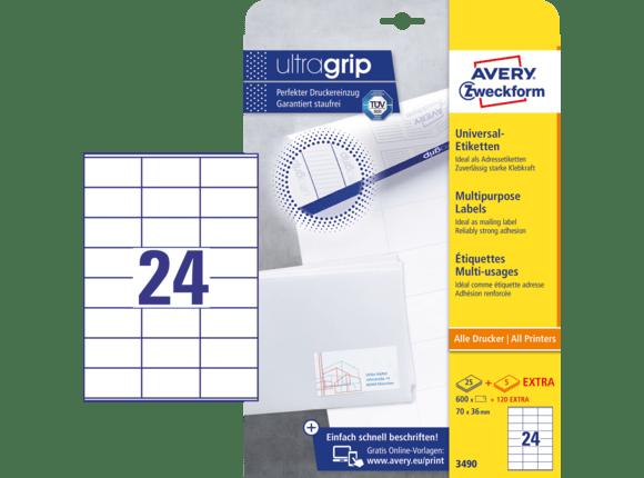 Avery Zweckform Universal Etiketten Ultragrip 70 X 36 Mm