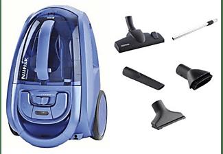 Aspirador sin bolsa - Nilfisk Meteor Mblu, 800 W, Filtro HEPA, 2.5 L, Accesorios, Azul
