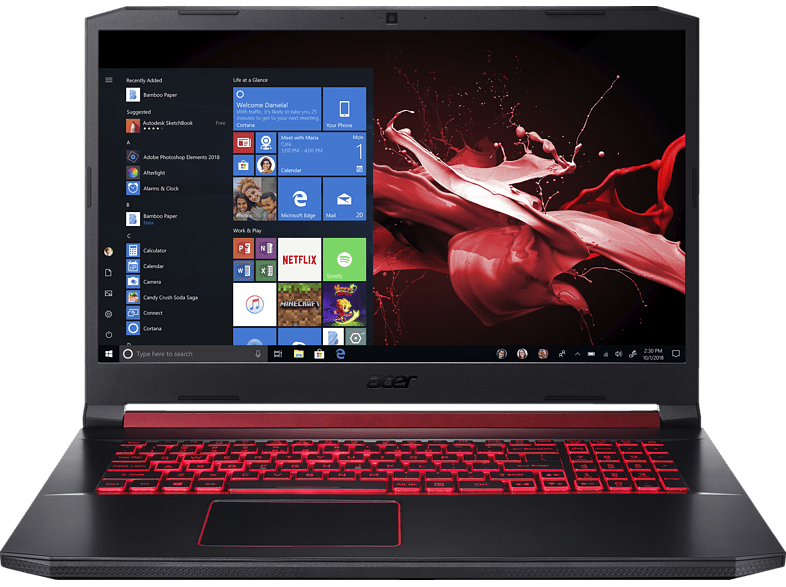 ACER Nitro 5 (AN517-51-70ND), Gaming Notebook mit 17.3 Zoll Display, Core™ i7 Prozessor, 8 GB RAM, 512 GB SSD, GeForce® GTX 1650, Schwarz/Rot