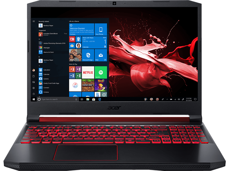 ACER Nitro 5 (AN515-54-72B7), Gaming Notebook mit 15.6 Zoll Display, Core™ i7 Prozessor, 16 GB RAM, 512 GB SSD, 1 TB HDD, GeForce® GTX 1660 Ti, Schwarz/Rot