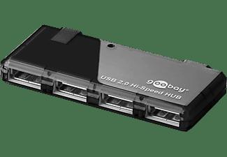 GOOBAY 4-fach USB 2.0 Hi-Speed HUB/Verteiler mit Netzteil, Hi-Speed HUB, Schwarz