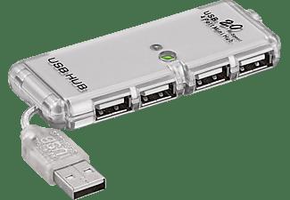 GOOBAY 4-fach USB Hi-Speed HUB/Verteiler, USB HUB, grau/silber