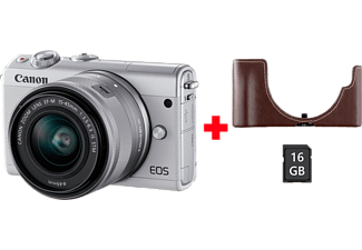 CANON Hybride camera EOS M100 Wit + 15-45 mm Zilver Kit (2210C095AA)
