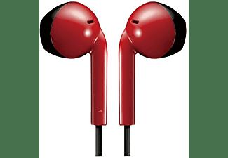 Auriculares de botón - JVC HA-F19M, Micrófono, Control por botón, Rojo