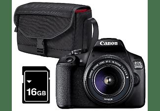 Cámara réflex - Canon EOS 2000D, 24.1 MP, Full HD, Negro + Objetivo 18-55mm f/3.5-5.6 + Funda + SD 16 GB
