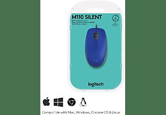 Ratón - Logitech M110, 1000 DPI, USB, Óptico,  Ambidestro, Azul