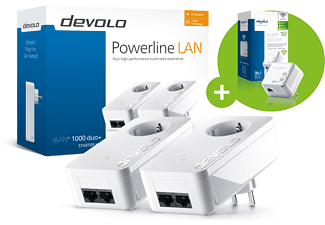 Powerline Adapter DEVOLO dLAN 1000 duo+ Starter Kit + dLAN 500 WiFi Powerline 1000 Mbit/s kabelgebunden