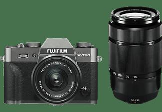 FUJIFILM X-T30 Systemkamera mit Objektiv 15-45 mm und 50-230 mm, 7,6 cm Display Touchscreen, WLAN
