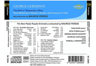 Maurice Peress, New Palais Royale Orchestra - The Birth of 'Rhapsody in Blue'  - (CD)