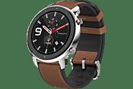 AMAZFIT GTR 47.2 mm Smartwatch Edelstahl Echtleder, Silikon, 118 mm + 75 mm, Edelstahl/Braun