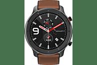 AMAZFIT  GTR 47.2 mm Smartwatch Aluminium, Echtleder, Silikon, 118 mm + 75 mm, Schwarz/Braun