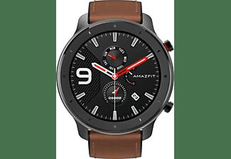 AMAZFIT GTR 47.2 mm Smartwatch Aluminium Echtleder, Silikon, 118 mm + 75 mm, Schwarz/Braun