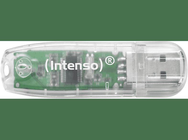 INTENSO Rainbow USB-Stick, 32 GB, 28 MB s, Transparent