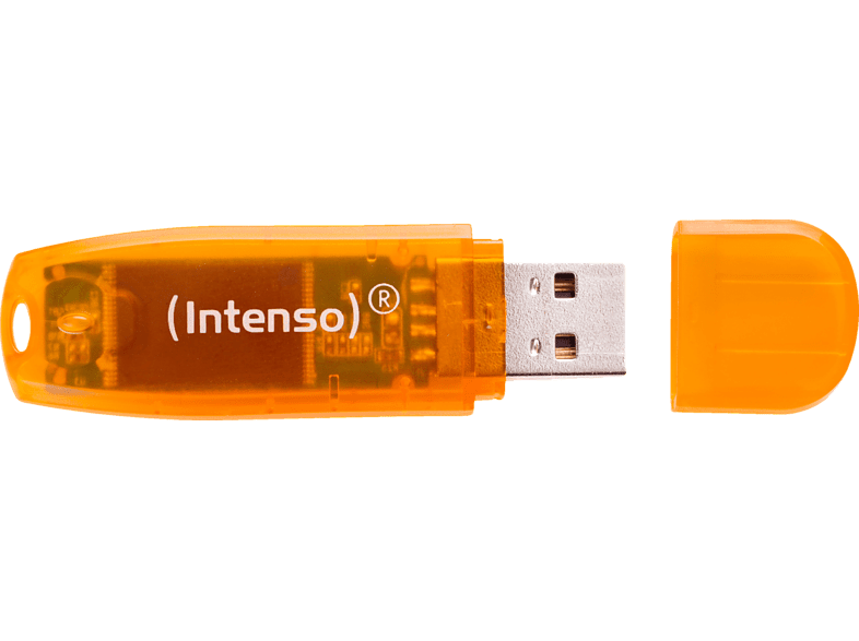 INTENSO Rainbow Line USB-Stick, 64 GB, 28 MB s, Orange
