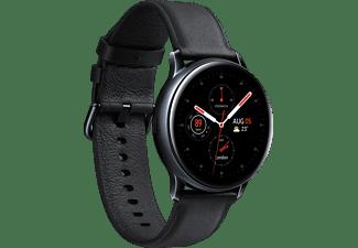 SAMSUNG Galaxy Watch Active2 Stainless Steel 40mm BK Smartwatch Edelstahl Echtleder, S/M, Black