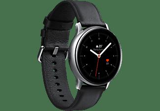 SAMSUNG Galaxy Watch Active2 Stainless Steel 40mm SI Smartwatch Edelstahl Echtleder, S/M, Silver