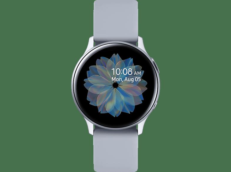 SAMSUNG  Galaxy Watch Active2 Aluminium 40mm CS Smartwatch Aluminium, Fluorkautschuk, S/M, Cloud Silver