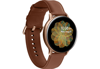 SAMSUNG Galaxy Watch Active2 Stainless Steel 44mm (LTE) GO Smartwatch Edelstahl Echtleder, M/L, Gold