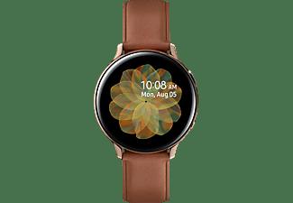 SAMSUNG Galaxy Watch Active2 Stainless Steel 44mm GO Smartwatch Edelstahl Echtleder, M/L, Gold