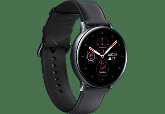 SAMSUNG Galaxy Watch Active2 Stainless Steel 44mm BK Smartwatch Edelstahl Echtleder, M/L, Black