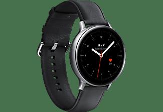 SAMSUNG Galaxy Watch Active2 Stainless Steel 44mm SI Smartwatch Edelstahl Echtleder, M/L, Silver