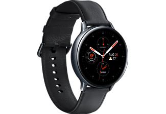 SAMSUNG Galaxy Watch Active2 Stainless Steel 44mm (LTE) BK Smartwatch Edelstahl Echtleder, M/L, Black