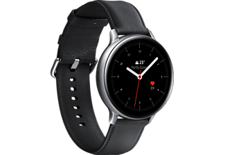 SAMSUNG Galaxy Watch Active2 Stainless Steel 44mm (LTE) SI Smartwatch Edelstahl Echtleder, M/L, Silver