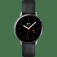 SAMSUNG  Galaxy Watch Active2 Stainless Steel 44mm (LTE) SI Smartwatch Edelstahl, Echtleder, M/L, Silver