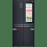 LG GMQ 844 MCKV   French Door (370 kWh/Jahr, A+, 1787 mm hoch, Mattschwarz Edelstahllook)