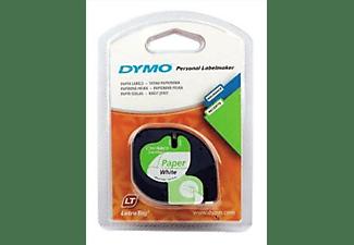 Cinta papel - Dymo S0721510, 12 mm x 4 m, Blanco y negro