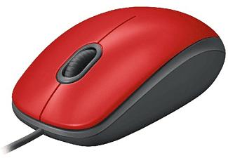 Ratón - Logitech M110, 1000 DPI, USB, Óptico, Ambidestro, con cable, Rojo
