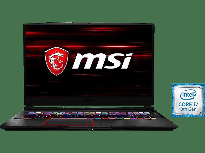 MSI GE75 8SF-044, Gaming Notebook mit 17.3 Zoll Display, Core™ i7 Prozessor, 16 GB RAM, 256 GB SSD, 1 TB HDD, GeForce® RTX™ 2070, Schwarz
