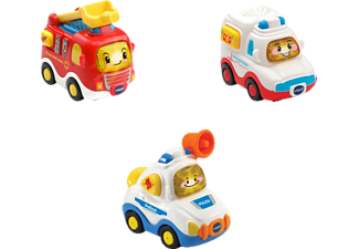 VTECH Tut Tut Baby Flitzer - 3er Set Einsatzfahrzeuge (Feuerwehrauto, Rettungswagen, Polizei) Farhrzeug, Mehrfarbig
